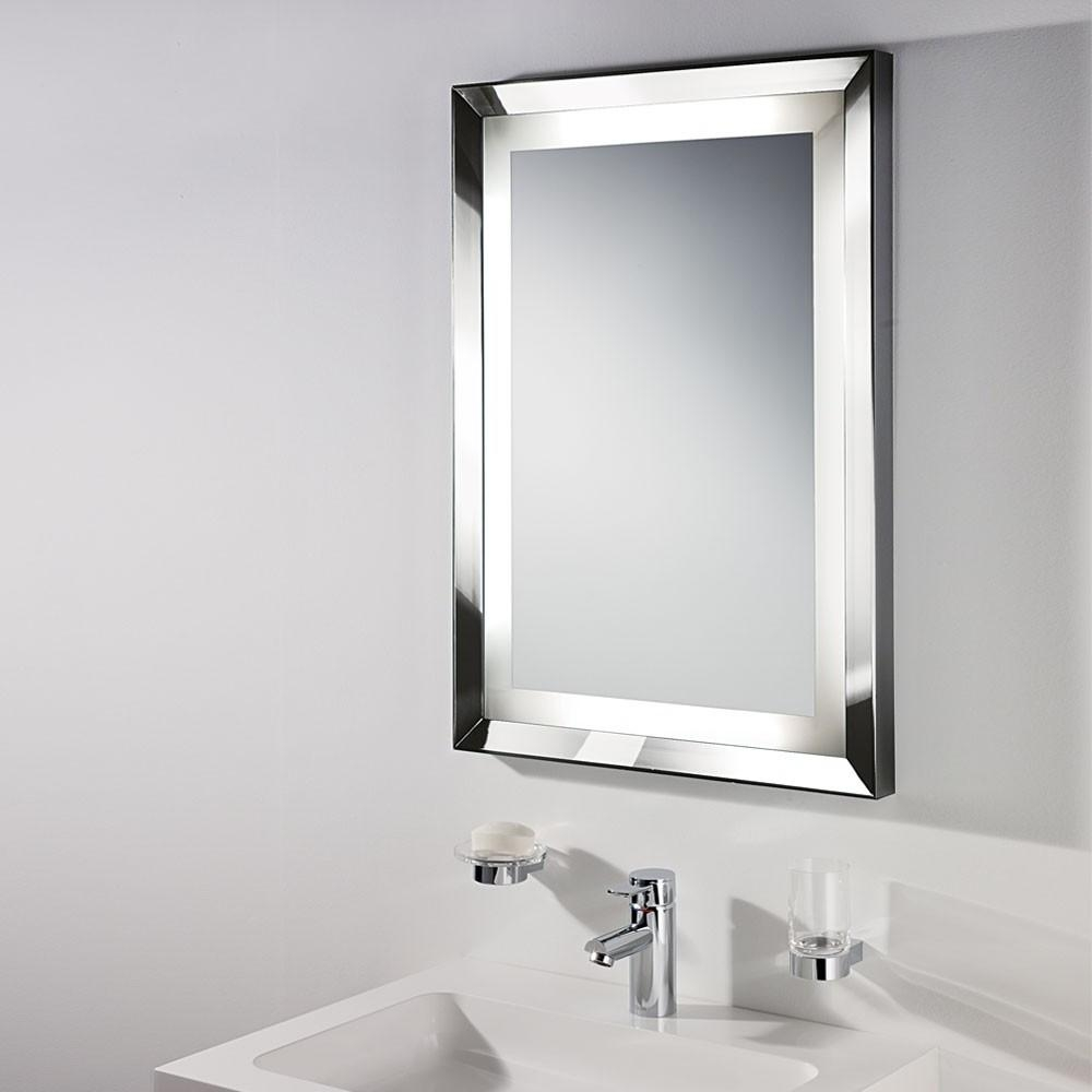 Bathrooms Design : Nickel Framed Mirror Bathroom Vanity With White With Bathroom Wall Mirrors With Lights (Image 6 of 20)