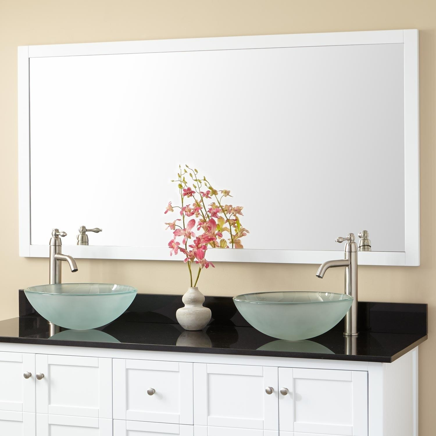 Bathrooms Design : Oval Bathroom Mirror Wall Mirrors Brushed Intended For Extra Wide Bathroom Mirrors (Image 10 of 20)