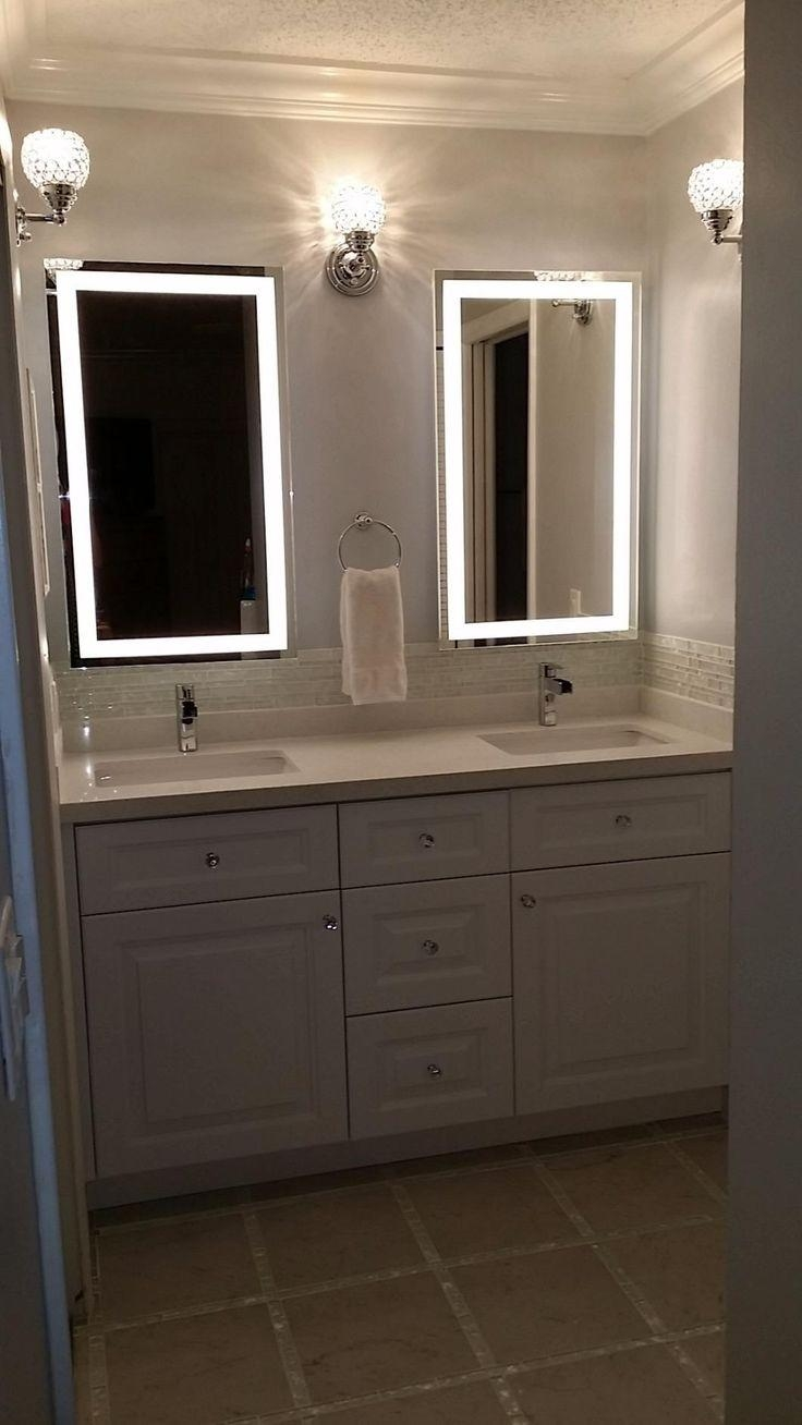 Bathrooms Design : Wall Makeup Mirror Bathroom Vanity Mirror With Throughout Vanity Mirrors With Built In Lights (Image 10 of 20)