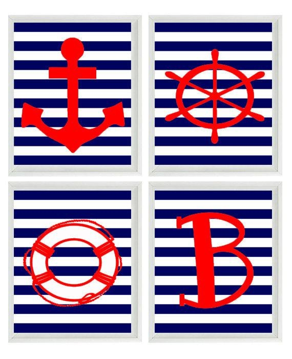 Beach Nautical Nursery Initial Art Print Set Red Navy Blue With Regard To Red White And Blue Wall Art (Image 4 of 20)