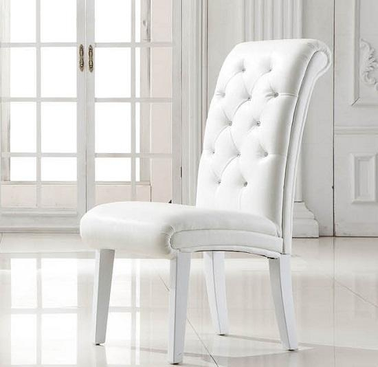 Beautiful Design White Leather Dining Room Chairs Nonsensical Within White Leather Dining Chairs (Image 1 of 20)