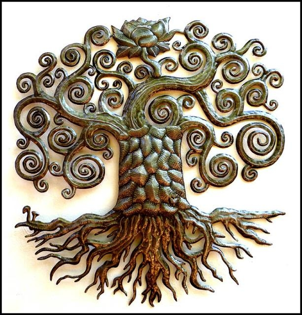 Beautiful Hand Hammered Tree Wall Decor – Haitian Metal Art In Iron Tree Wall Art (Image 3 of 20)