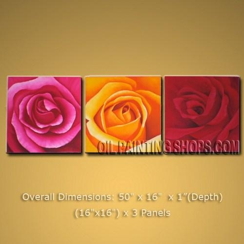 "Beautiful Tri Panel Canvas Wall Art Decor Art Rose Flower 50"" X 16 Intended For Rose Canvas Wall Art (Image 6 of 20)"