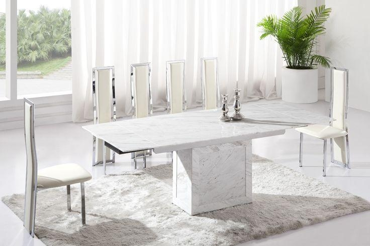 Beautiful White Marble Dining Table And Whitebrown Extending In Extending Marble Dining Tables (View 13 of 20)