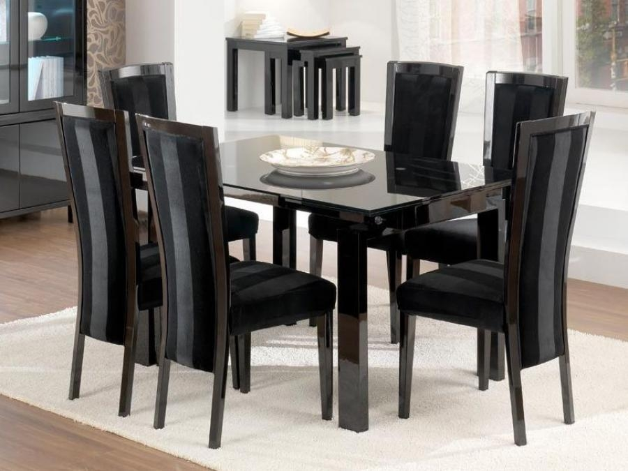Beauty Covington Round Glass Top Dining Table (Black & Silver Leaf With Regard To 2017 Dining Tables Black Glass (Image 2 of 20)