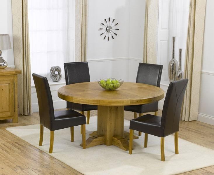 Beauty Somerset Round Dining Table And 4 City Chairs Set (Dark Throughout Most Recent Oak Round Dining Tables And Chairs (Image 2 of 20)