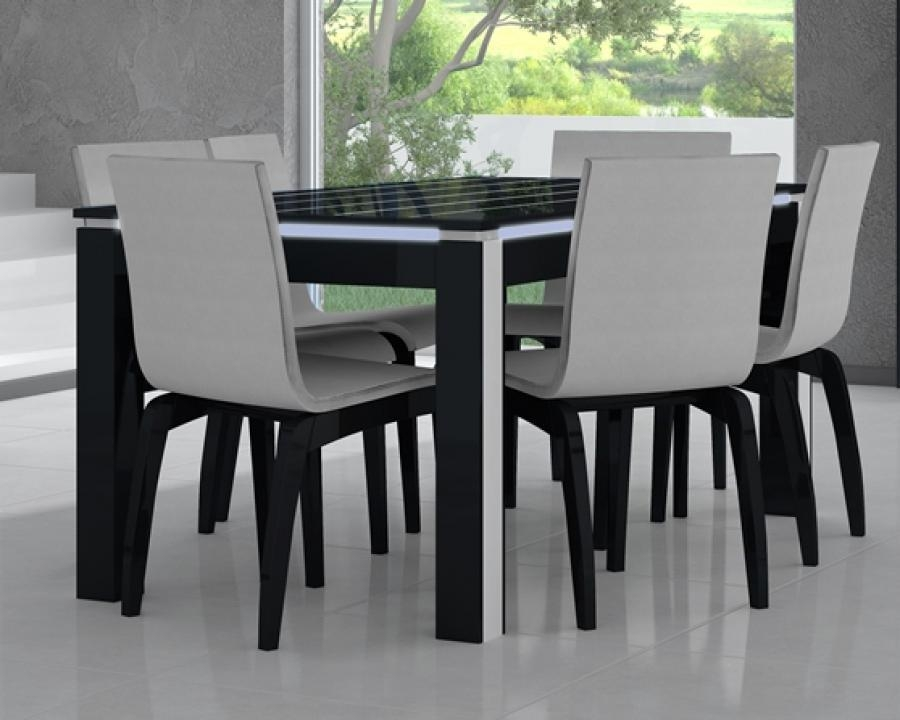 Beauty Venture High Gloss Dining Table With Glass Top Options And With Gloss Dining Tables And Chairs (Image 2 of 20)
