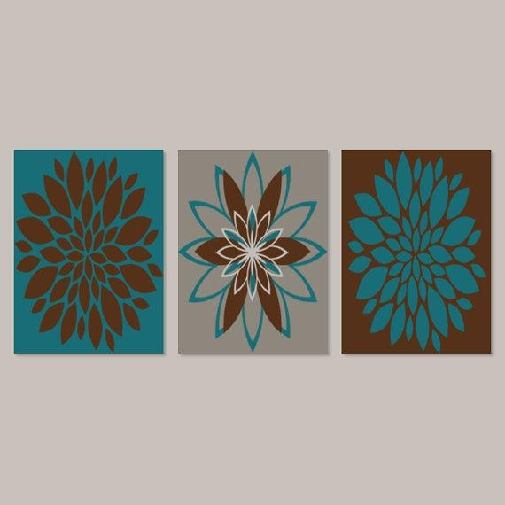 Bedroom Wall Art Prints Or Canvas Teal Brown Dahlia Flower For Teal And Brown Wall Art (Image 3 of 20)