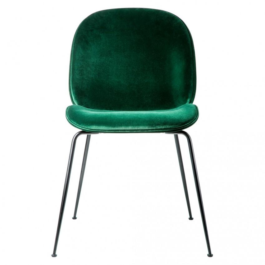 Beetle Dining Chair Green Velvet With Black Legs – The Conran Shop Intended For Velvet Dining Chairs (Image 3 of 20)