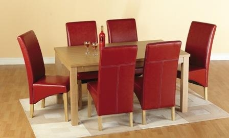 Belgrade Wooden Dining Set With 6 Dining Chairs In Red 1577 Inside Red Leather Dining Chairs (Image 2 of 20)