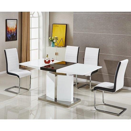 Belmonte Extendable Dining Table Small With 6 White Chairs Throughout Recent High Gloss Extendable Dining Tables (Image 2 of 20)