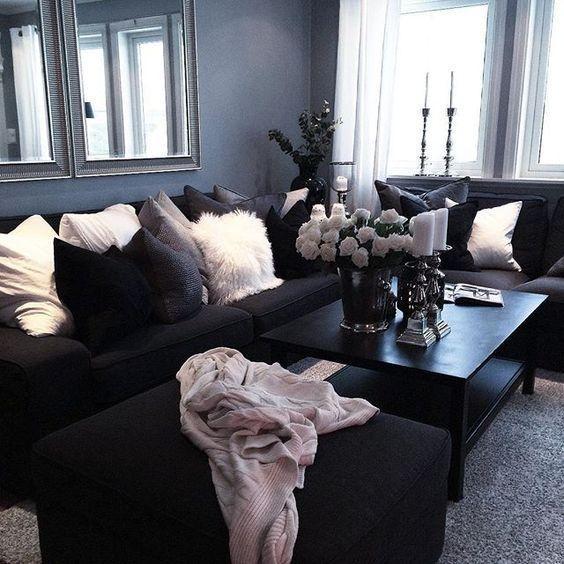Best 25+ Black Couch Decor Ideas On Pinterest | Dark Sofa, Black Regarding Black Sofas Decors (Image 2 of 20)