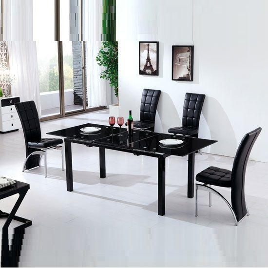 Best 25+ Black Glass Dining Table Ideas On Pinterest | Glass Top Inside Recent Black Extendable Dining Tables And Chairs (Image 1 of 20)
