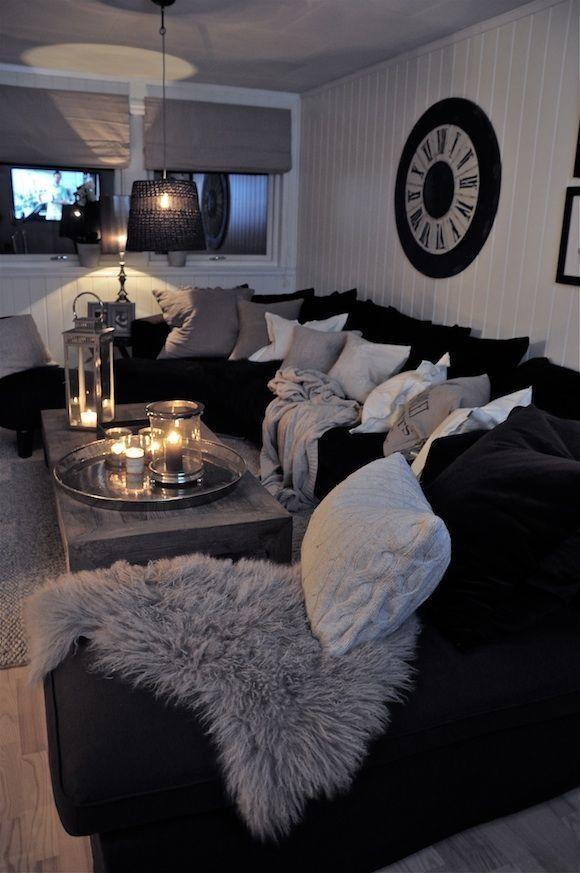 Best 25+ Black Sofa Decor Ideas On Pinterest | Black Sofa, Black For Black Sofas Decors (Image 10 of 20)
