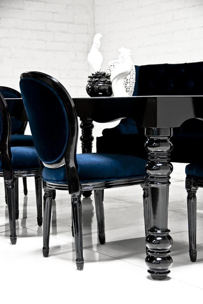 Best 25+ Blue Chairs Ideas On Pinterest | White Dining Room Paint Intended For 2017 Black Gloss Dining Room Furniture (Image 4 of 20)