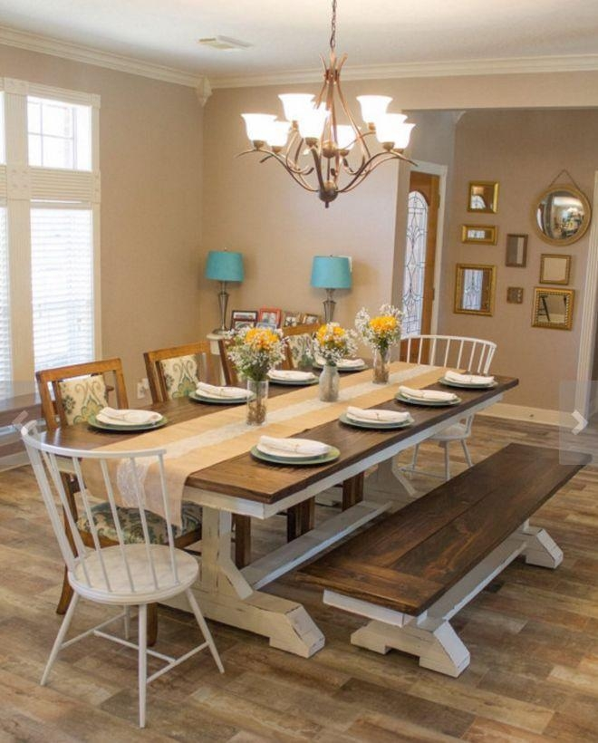 Best 25+ Farmhouse Dining Room Table Ideas On Pinterest | Diy Intended For Most Recent Dining Room Tables (Image 6 of 20)