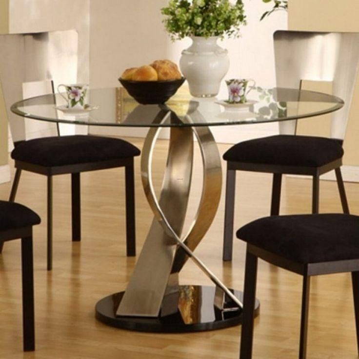 Best 25+ Glass Dining Table Set Ideas On Pinterest | Glass Dining Throughout Most Popular Round Black Glass Dining Tables And 4 Chairs (Image 5 of 20)