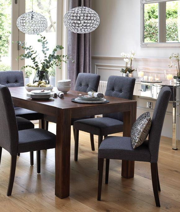 Best 25+ Grey Upholstered Dining Chairs Ideas On Pinterest Regarding Current Dark Wood Dining Tables And Chairs (Image 5 of 20)