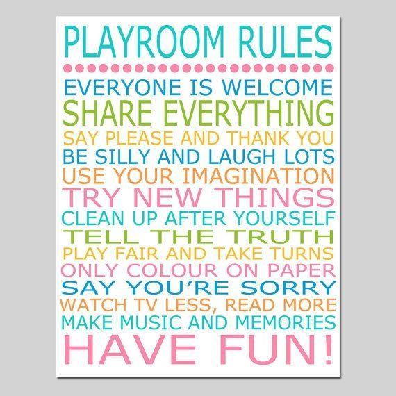 Best 25+ Playroom Rules Ideas On Pinterest | Playroom Decor Intended For Playroom Rules Wall Art (Image 6 of 20)