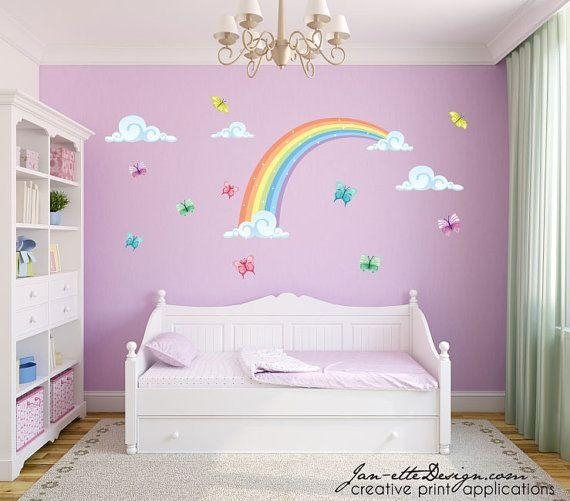 Best 25+ Rainbow Wall Decal Ideas On Pinterest | Rainbow Girls Regarding Rainbow Butterfly Wall Art (View 10 of 20)