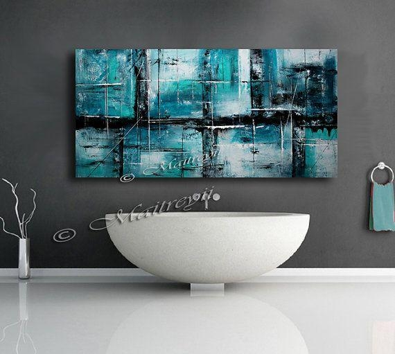 Best 25+ Teal Canvas Art Ideas On Pinterest | Flower Painting Pertaining To Black And Teal Wall Art (View 18 of 20)