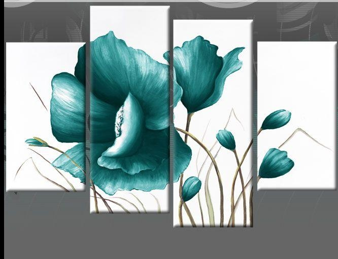 Best 25+ Teal Canvas Art Ideas On Pinterest | Flower Painting Within Teal And Green Wall Art (View 8 of 20)