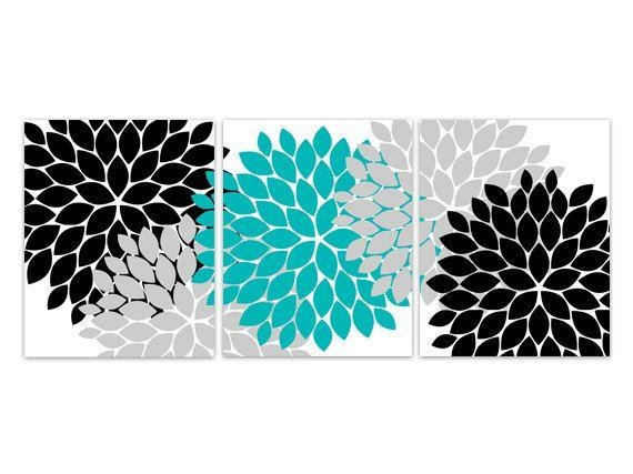 Best 25+ Teal Wall Art Ideas On Pinterest | Abstract Flowers Pertaining To Black And Teal Wall Art (Image 8 of 20)