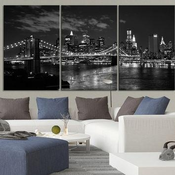 Best Black And White Triptych Products On Wanelo Pertaining To New York Skyline Canvas Black And White Wall Art (Image 2 of 20)