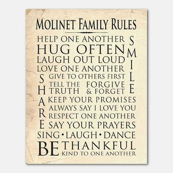Best Family Rules Personalized Products On Wanelo For Personalized Family Rules Wall Art (Image 11 of 20)