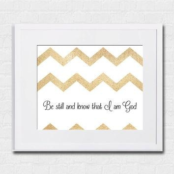 Best Gold Chevron Wall Art Products On Wanelo With Regard To Be Still And Know That I Am God Wall Art (Image 9 of 20)