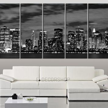 Best New York Skyline Wall Decor Products On Wanelo Regarding New York Skyline Canvas Black And White Wall Art (Image 3 of 20)