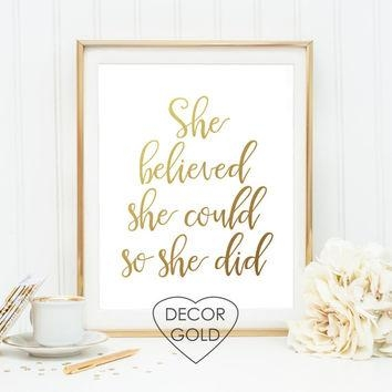 Best She Believed She Could So She Did Wall Products On Wanelo Intended For She Believed She Could So She Did Wall Art (Image 6 of 20)