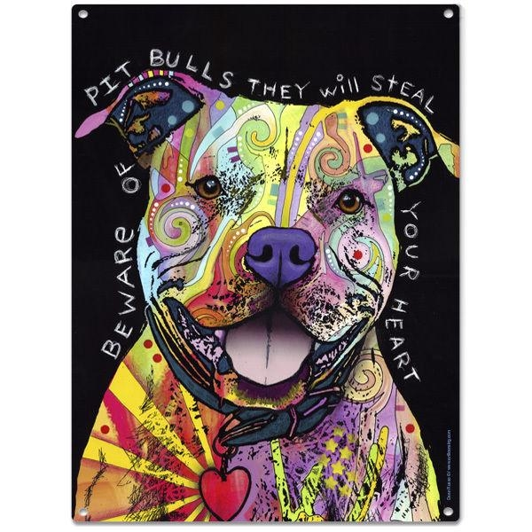 Beware Rainbow Pit Bull Dog Dean Russo Sign Pet Steel Wall Decor Within Pitbull Wall Art (Image 6 of 20)