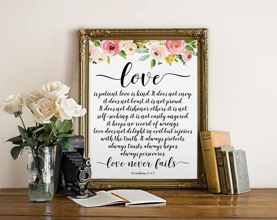 Bible Verse Wall Art Love Is Patient Love Is Kind Christian With Regard To Love Is Patient Love Is Kind Wall Art (Image 6 of 20)