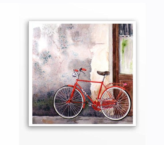 Bike Painting Watercolor Print Florence Italy (Image 13 of 20)