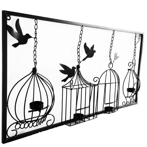 Birdcage Tea Light Wall Art Metal Wall Hanging Candle Holder Black Pertaining To Metal Wall Art With Candles (View 19 of 20)