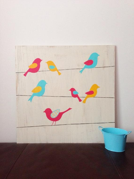 Birds On A Wire Wall Art Woodland Nursery Decor Baby Girl Throughout Birds On A Wire Wall Art (View 4 of 20)