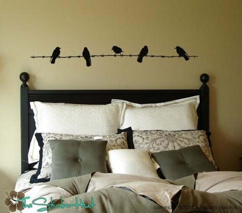 Birds On Barbed Wire Fence Wall Art Graphics Lettering Decals Within Birds On A Wire Wall Art (View 15 of 20)