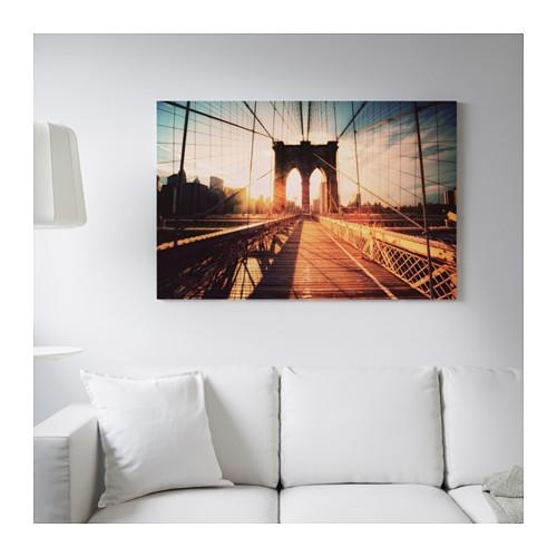 Björksta Picture With Frame Brooklyn Bridge At Sunset/black 78X118 With Ikea Brooklyn Bridge Wall Art (Image 8 of 20)