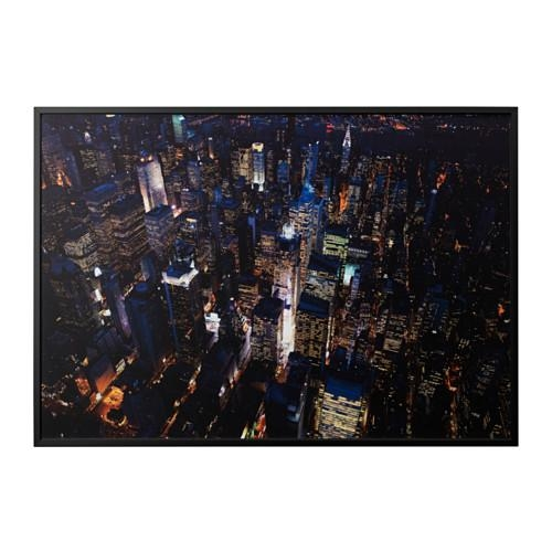 Björksta Picture With Frame City Lights, New York/black 200X140 Cm With Regard To Ikea Wall Art Canvas (View 14 of 20)