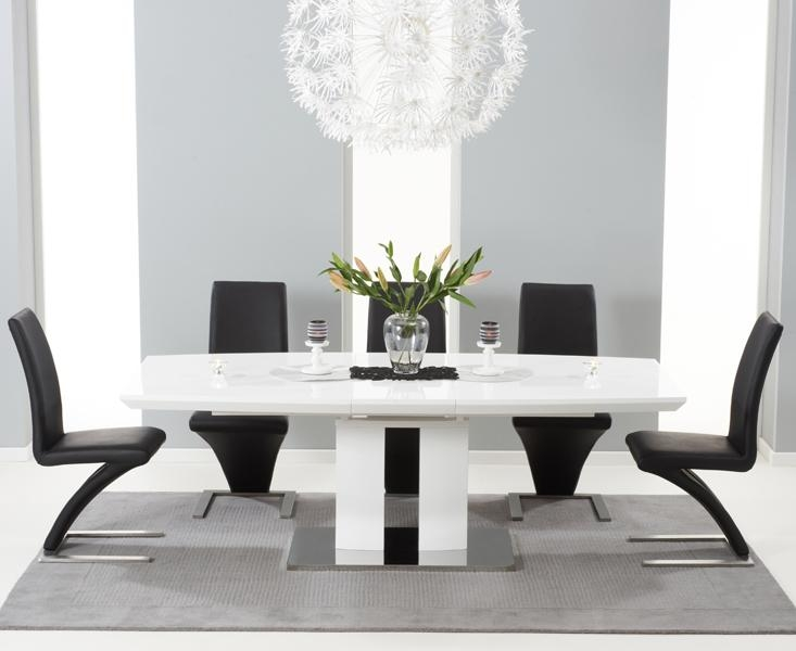 Black And White Dining Table Set – Insurserviceonline Pertaining To Most Up To Date Black Gloss Dining Room Furniture (Image 5 of 20)