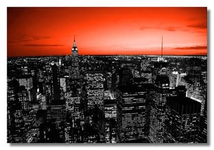 Black And White New York Canvas Art Prints With Red Tint Skyline (Image 4 of 20)