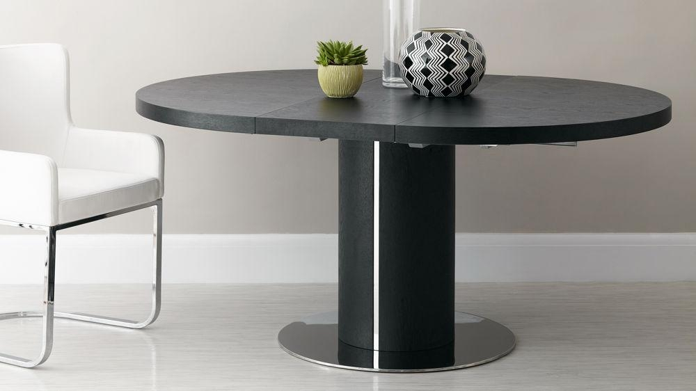 Black Ash Round Extending Dining Table | Pedestal Base | Uk Throughout Most Recent Black Extending Dining Tables (Image 2 of 20)
