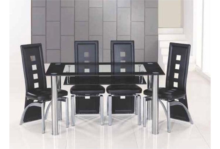 Black Bordered Clear Glass Dining Table And 6 Chairs | In Ince With Regard To Most Recently Released Glass Dining Tables And 6 Chairs (Image 3 of 20)