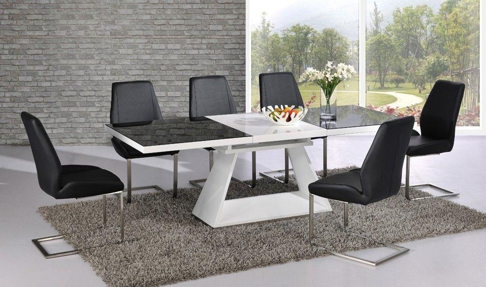 Black Dining Table With White Chairs – Creation Home For 2018 Glass And White Gloss Dining Tables (View 15 of 20)