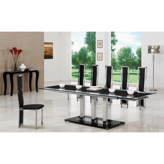 Black Extending Glass Dining Table And 8 G601 Chairs With Recent Black 8 Seater Dining Tables (Image 7 of 20)