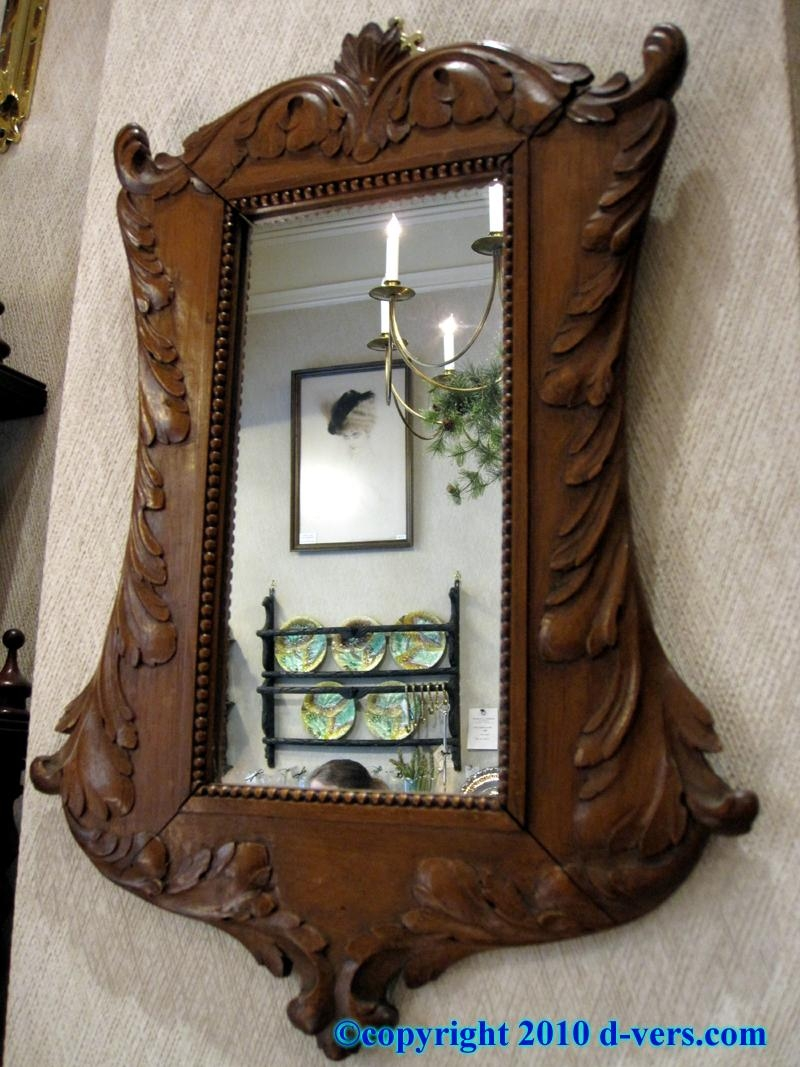 Black Forest Wood Mirror Pair Hand Carved Germany 19Th Century Regarding Vintage Wood Mirrors (Photo 7 of 20)