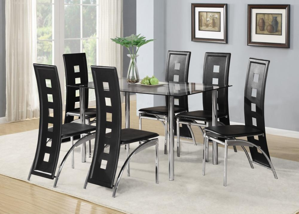 Black Glass Dining Room Table Set And With 4 Or 6 Faux Leather Within Most Up To Date Chrome Dining Sets (Image 4 of 20)