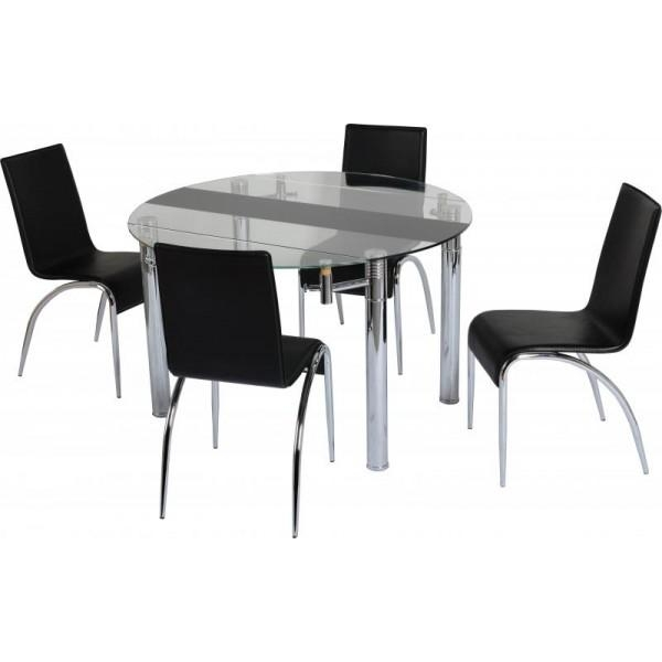 Black Glass Dining Table 2 Chairs » Gallery Dining Intended For Best And Newest Black Glass Dining Tables And 4 Chairs (View 8 of 20)