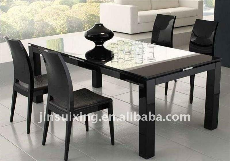 Black Glass Dining Table | Best Dining Table Ideas Throughout Recent Black High Gloss Dining Tables (Image 3 of 20)